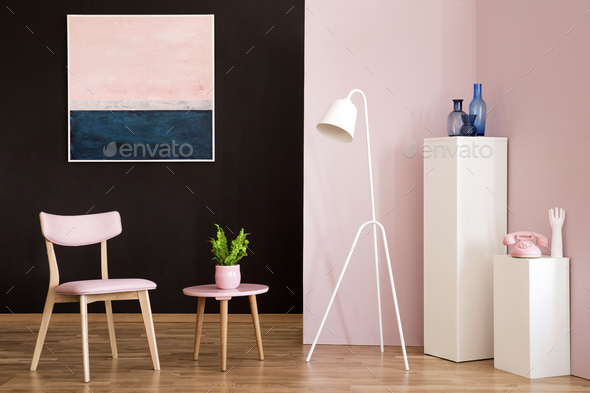 Pastel pink living room interior - Stock Photo - Images