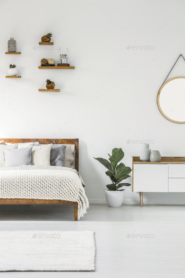 Scandi bedroom interior - Stock Photo - Images