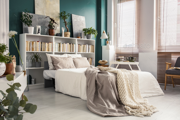 Side view of white bed - Stock Photo - Images