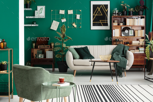 Green elegant living room interior - Stock Photo - Images