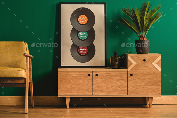 Poster with vinyl - Stock Photo - Images