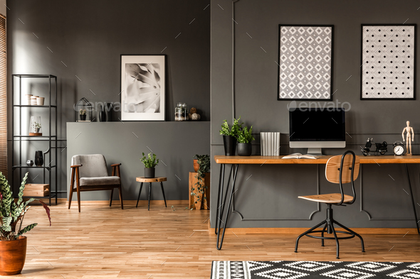 Grey home office interior - Stock Photo - Images
