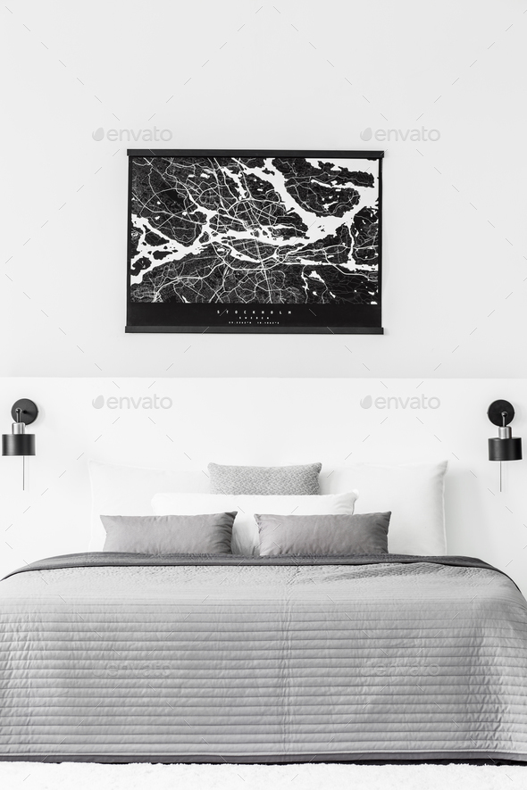Map in contrast bedroom interior - Stock Photo - Images