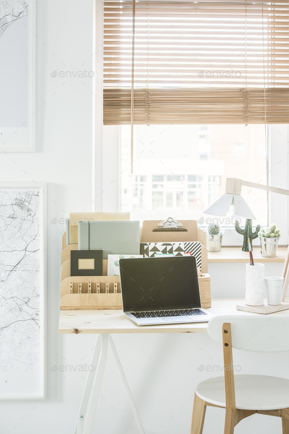 White natural home office interior - Stock Photo - Images