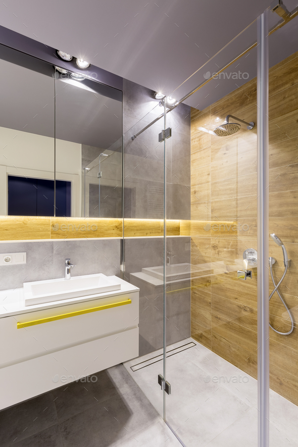 Bathroom with glass shower cabin - Stock Photo - Images