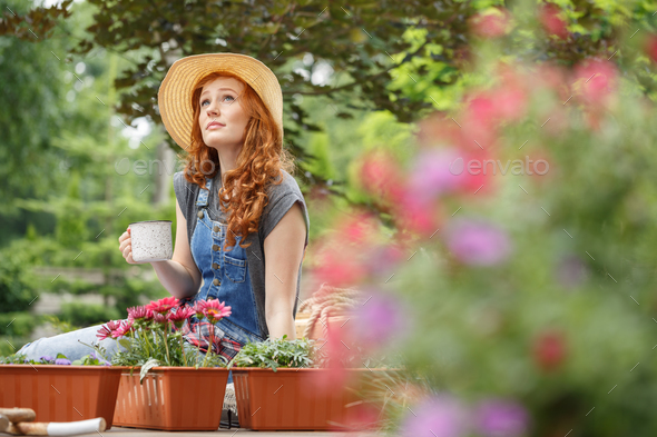 Woman in a straw hat - Stock Photo - Images