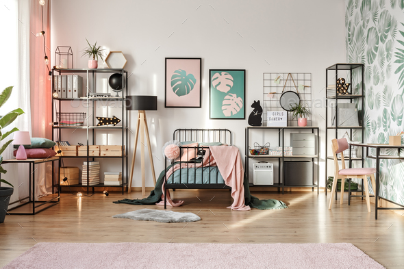 Pink decorations in botanical bedroom - Stock Photo - Images