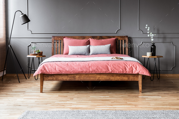 Grey and pink minimal bedroom - Stock Photo - Images