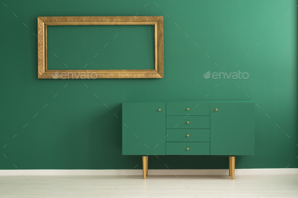 Green wooden cupboard - Stock Photo - Images