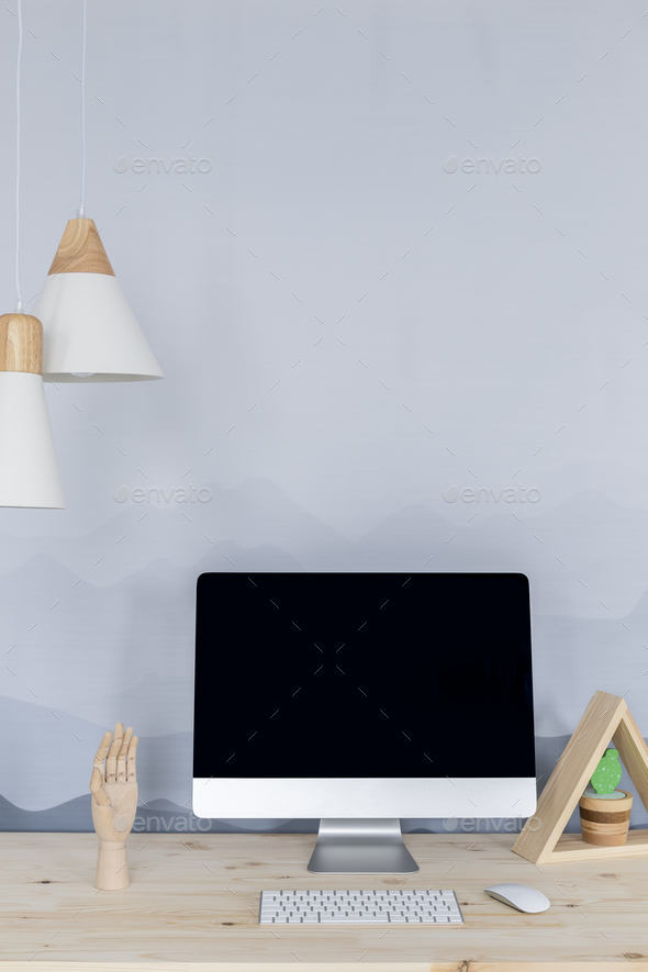 Simple workspace with computer - Stock Photo - Images