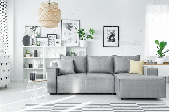 Modern studio with couch - Stock Photo - Images