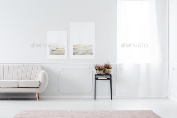 Posters in living room interior - Stock Photo - Images