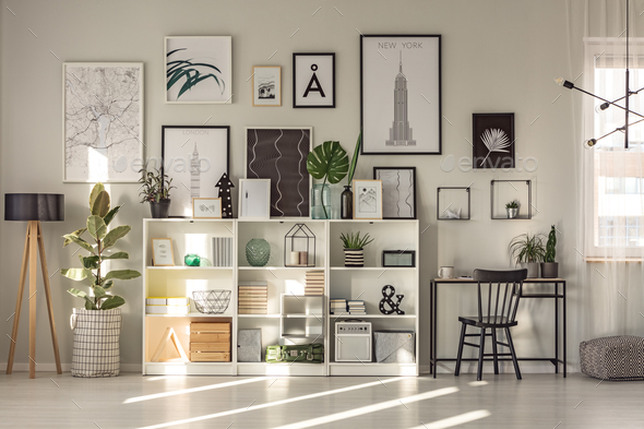 Spacious workspace interior with ficus - Stock Photo - Images