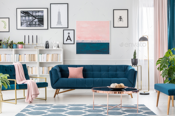 Living room with pink details - Stock Photo - Images