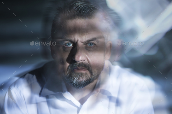 Blurred close-up of man - Stock Photo - Images