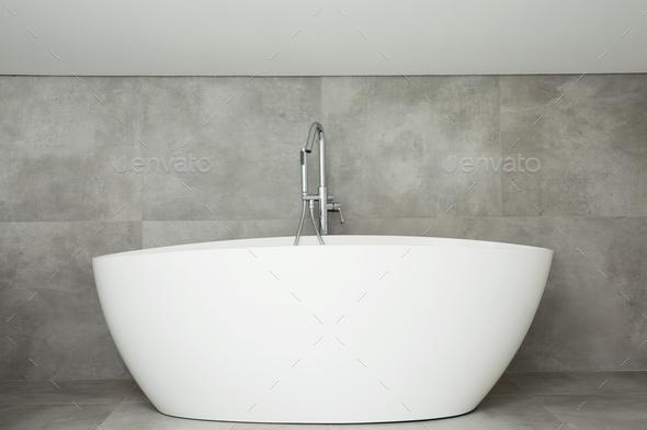 White ceramic bathtub - Stock Photo - Images