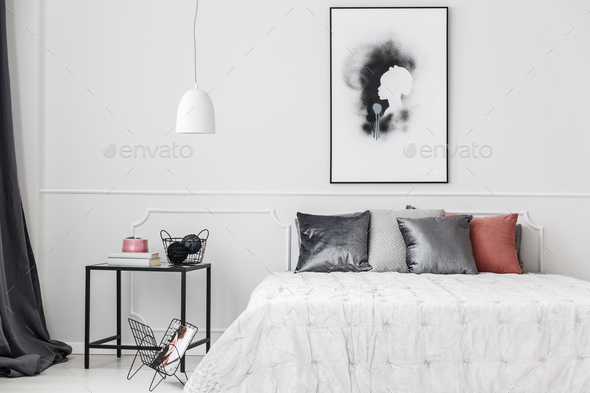 Elegant bedroom with wall molding - Stock Photo - Images