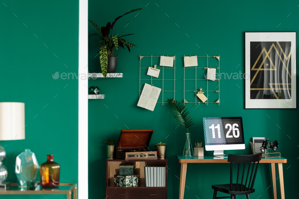 Green hipster student room interior - Stock Photo - Images
