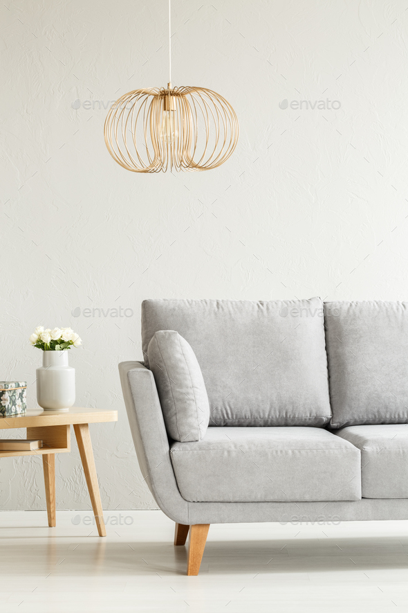 Grey and gold living room - Stock Photo - Images