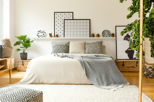 Warm bedroom interior - Stock Photo - Images