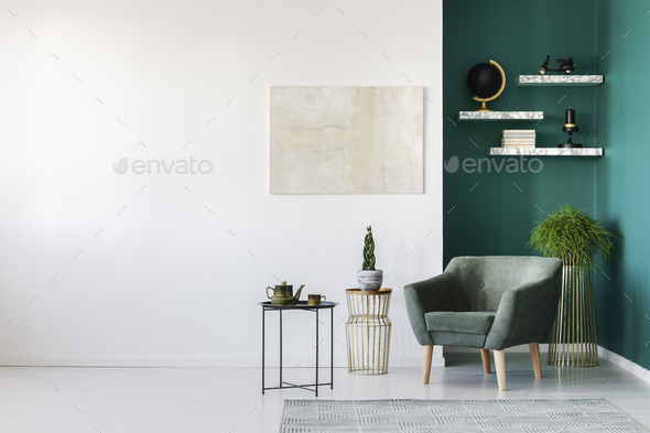 White and green interior - Stock Photo - Images