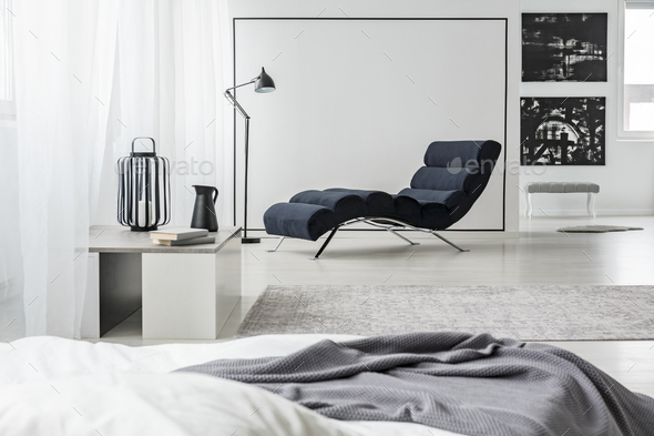 Black and white bedroom interior - Stock Photo - Images