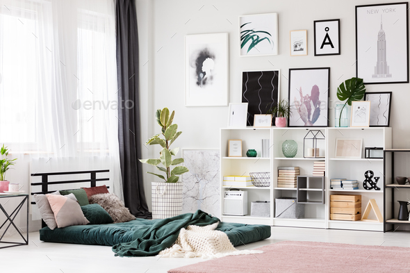 Pink and green bedroom interior - Stock Photo - Images