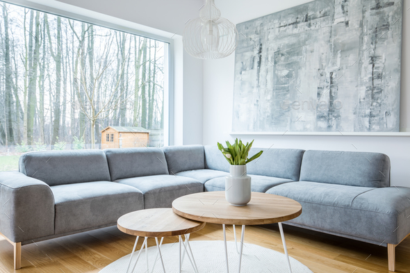 Minimal grey living room interior - Stock Photo - Images