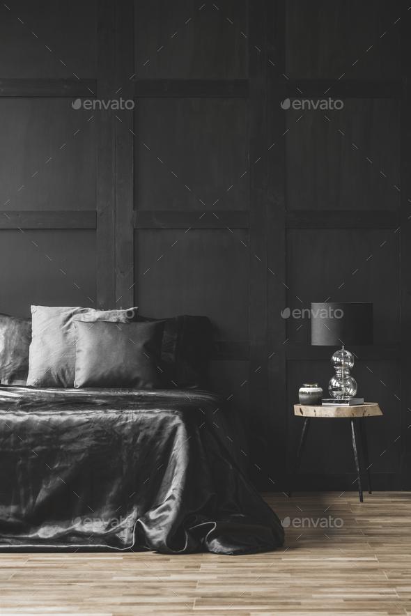 Modern black bedroom interior - Stock Photo - Images