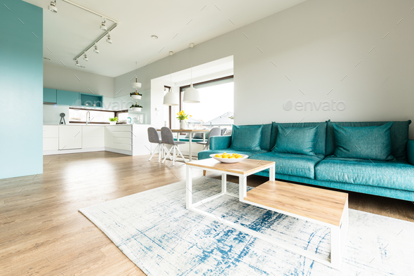 White and turquoise open interior - Stock Photo - Images