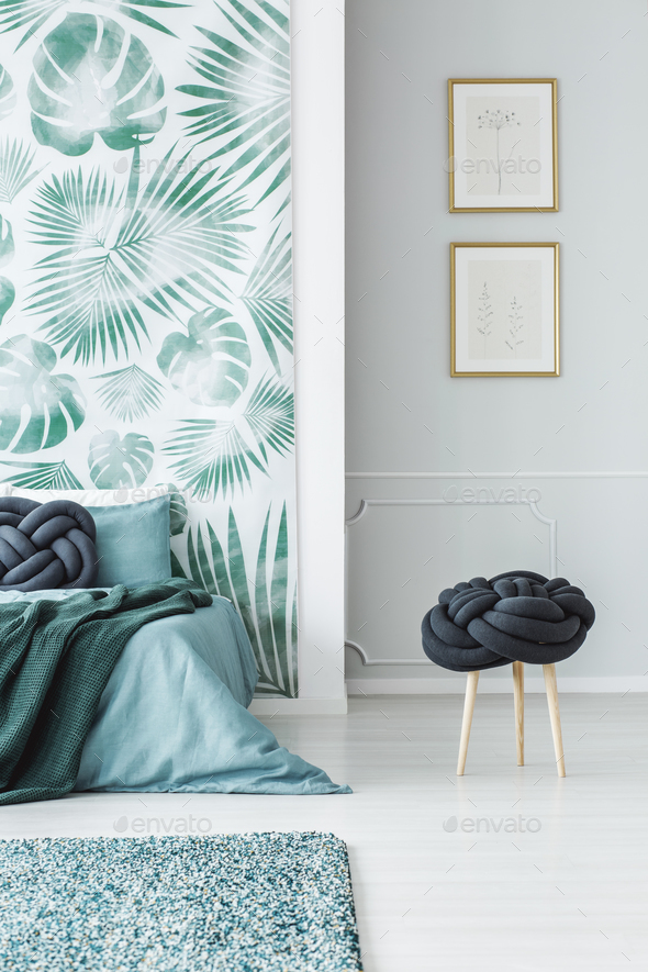 Posters in green bedroom interior - Stock Photo - Images