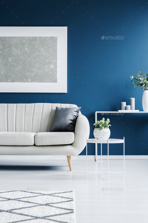 Leather couch and big painting - Stock Photo - Images