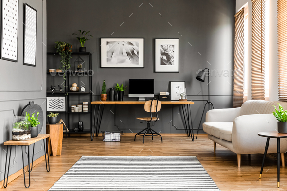 Grey freelancer's room interior - Stock Photo - Images