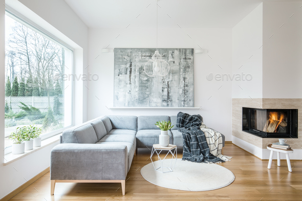 White sitting room interior with grey corner sofa, tulips in vas - Stock Photo - Images
