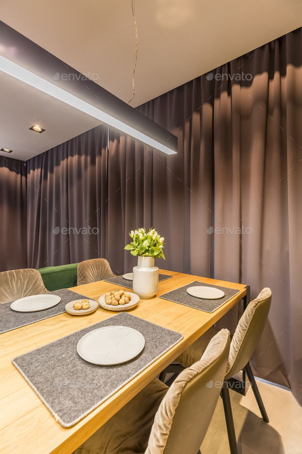 Drapes in dining room interior - Stock Photo - Images