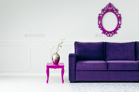 White and violet living room - Stock Photo - Images