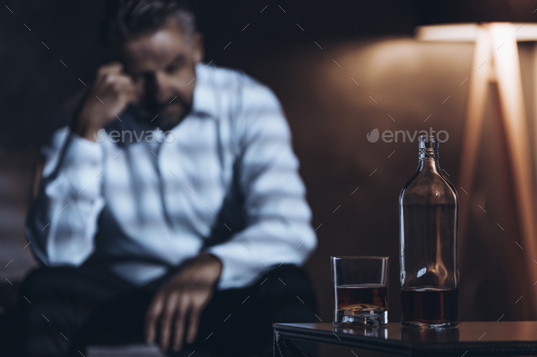 Man, bottle and glass - Stock Photo - Images