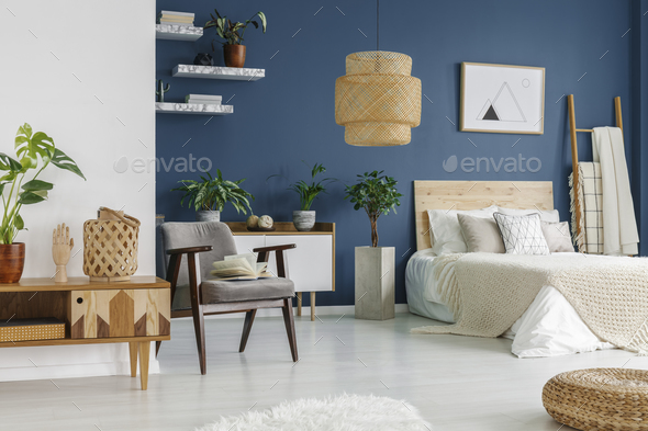 Wooden furniture in bedroom - Stock Photo - Images