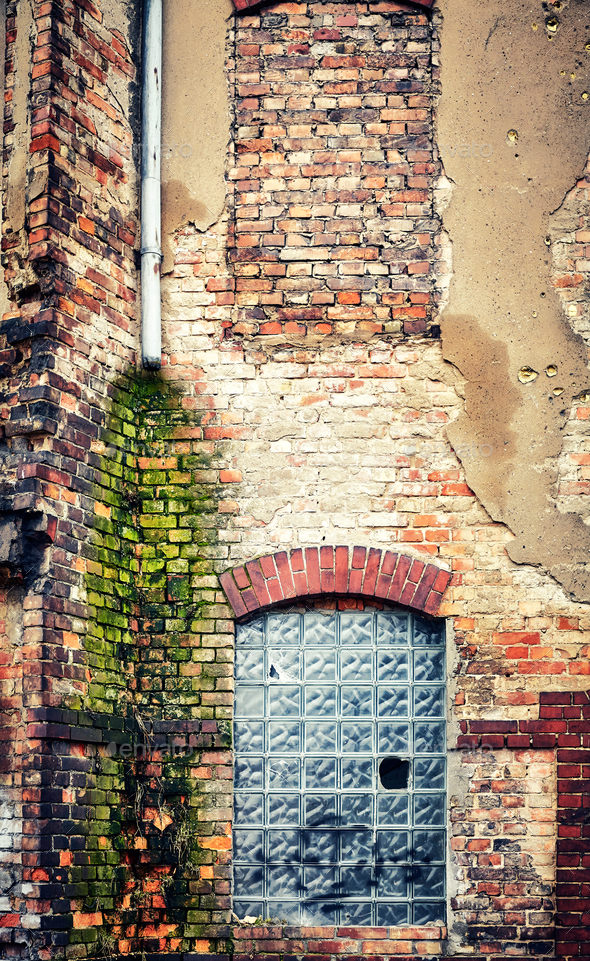 Demolished old brick building wall. - Stock Photo - Images