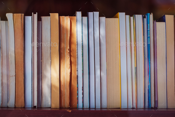Libary books on the shelf - Stock Photo - Images