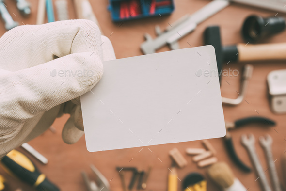 Maintenance worker blank business card as copy space - Stock Photo - Images