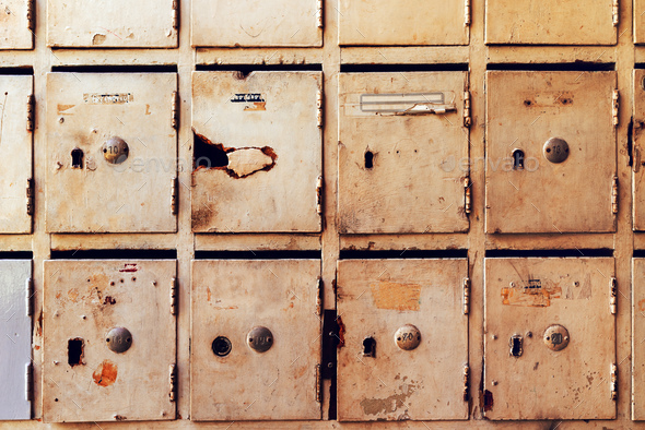 Obsolete mailboxes for post and letters - Stock Photo - Images