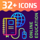 32+ Online Education Flat Icons - GraphicRiver Item for Sale