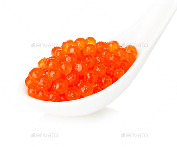 Porcelain spoon with red caviar isolated on white background. - Stock Photo - Images