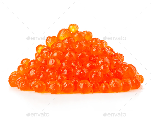 Red caviar close-up isolated on white background. - Stock Photo - Images