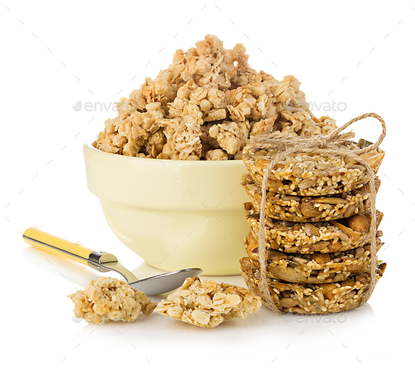 Breakfast cereal close-up isolated on white background. - Stock Photo - Images