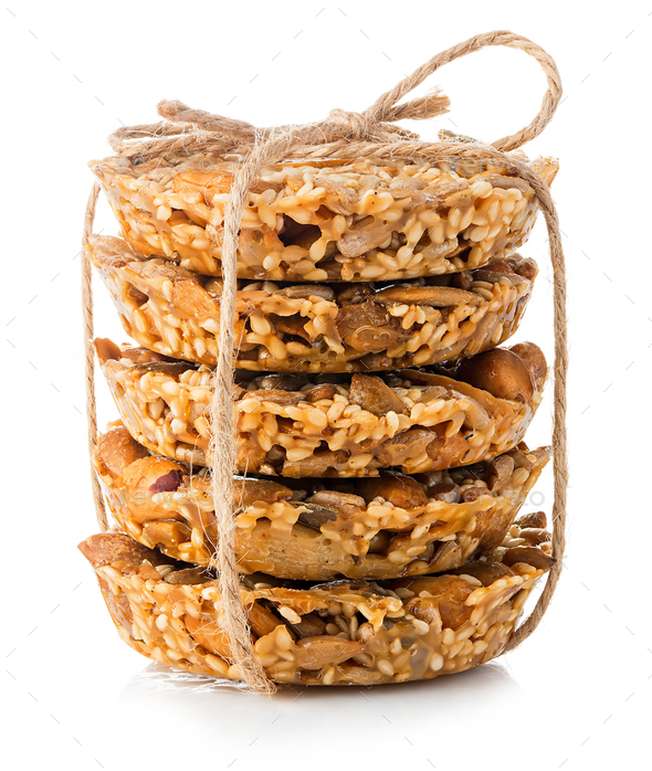 Cereal cookies close-up isolated on a white background. - Stock Photo - Images