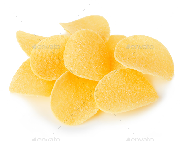 Potato chips close-up isolated on white background. - Stock Photo - Images