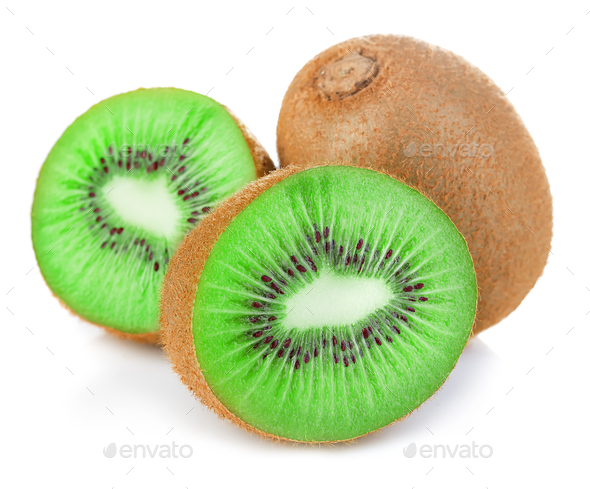 Kiwi fruit close-up isolated on white background. - Stock Photo - Images