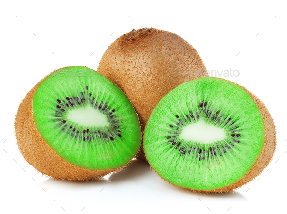 Kiwi fruit close-up isolated on white background. - Stock Photo - Images
